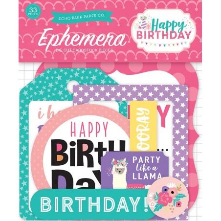 Zestaw wyciętych elementów - ephemera - Happy Birthday Girl