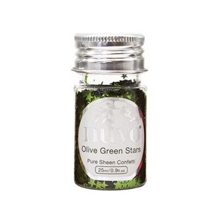 Nuvo Jingle Bells Confetti - Olive Green Stars