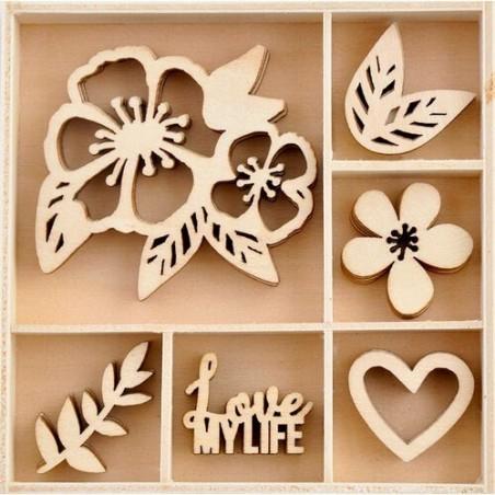 Drewniane dekoracje w pudełku - Magenta