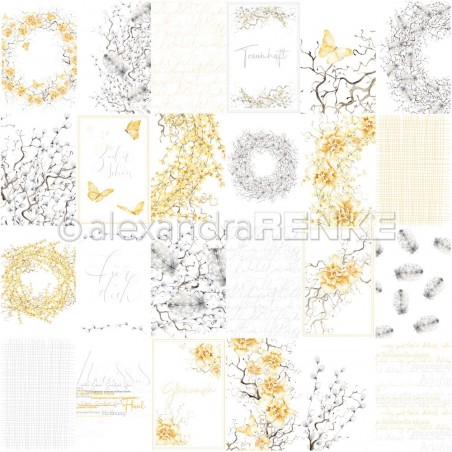 Papier 30,5 cm x 30,5 cm - Card sheet dreamlike in yellow and grey