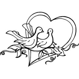 Stempel Serce z Gołębiami