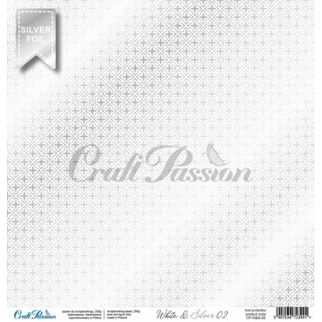 White & Silver 02 - papier scrapbookingowy premium 30,5x30,5cm